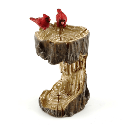 Fairy Gardens Mini Stump Bird Bath with Cardinals Earth Fairy