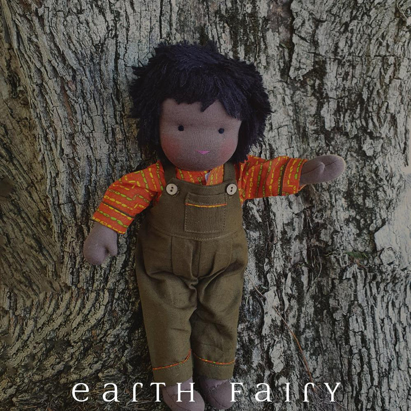 Black Hair & Black Eyes - Steiner Waldorf Boy Doll, from The Waldorf Doll Collection by Earth Fairy