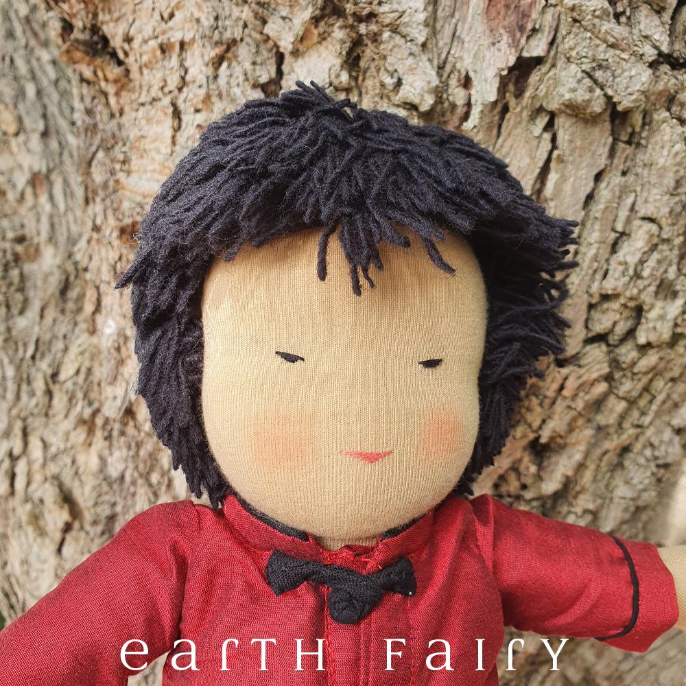 Waldorf Steiner Boy Doll - Black Hair & Black Eyes, from The Steiner Waldorf Doll Collection by Earth Fairy