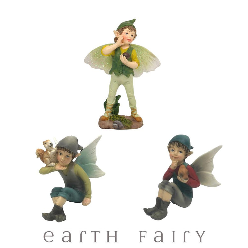 Flower Garden Boy Fairies - Set of 3 | Fairy Garden Figurines - Australia | Earth Fairy