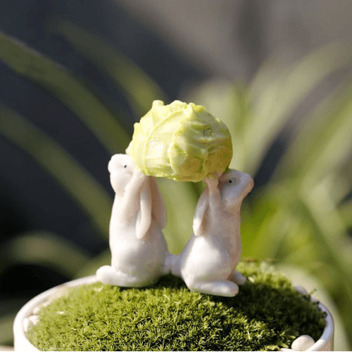 Bunnies Lifting Cabbage  - Fairy Gardens - Earth Fairy