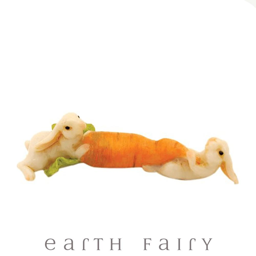 Bunnies Tugging A Carrot | Fairy Garden Miniatures - Australia | Earth Fairy