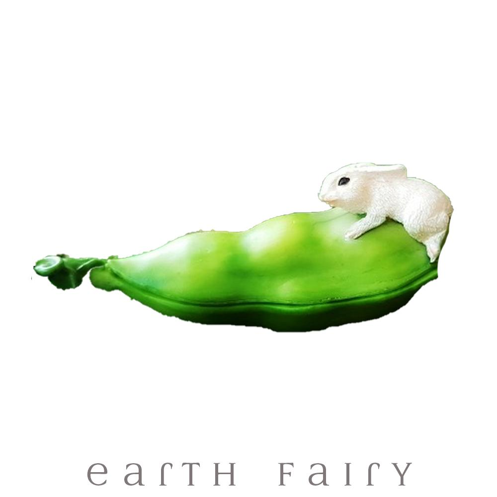 Bunny On An Opening Pea Pod | Fairy Garden Miniatures - Australia | Earth Fairy