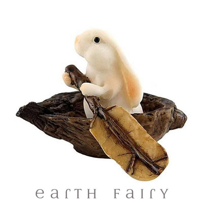 Bunny Rowing a Nutshell Boat | Fairy Garden Miniatures - Australia | Earth Fairy