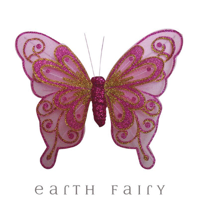 Butterfly Wings with Clip - 20cm - Set of 3 - Pink | Fairy Room Accents | Earth Fairy