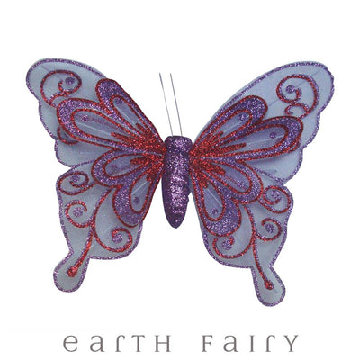 Butterfly Wings with Clip - 20cm - Set of 3 - Purple | Fairy Room Accents | Earth Fairy