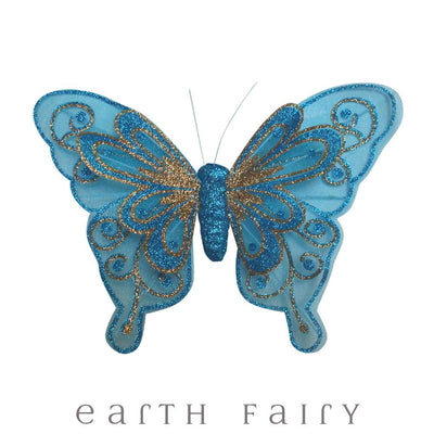 Butterfly Wings with Clip - 20cm - Set of 3 - Aqua| Fairy Room Accents | Earth Fairy
