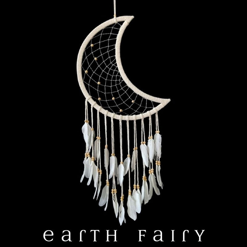 """Celestial"" Crescent Moon Dream Catcher - 97cm L"