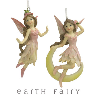 Celestial Fairies - Hanging Set of 2 | Fairy Garden Figurines | Fairy Figurines & Ornaments | Earth Fairy