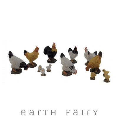 Chickens - Set of 13 | Fairy Garden Miniatures & Collectibles - Australia | Earth Fairy