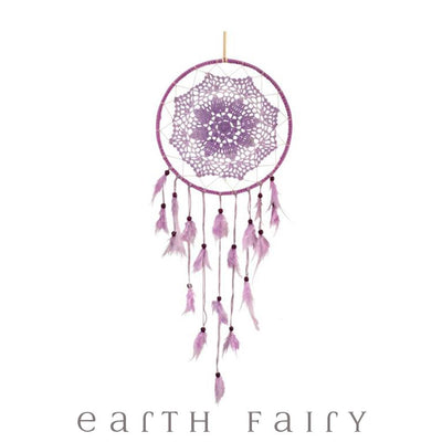 Crochet Dream Catcher - 70cm - Lilac | Fairy Inspired Gifts & Decor - Australia | Earth Fairy