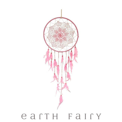 Crochet Dream Catcher - 70cm - Pink | Fairy Inspired Gifts & Decor - Australia | Earth Fairy