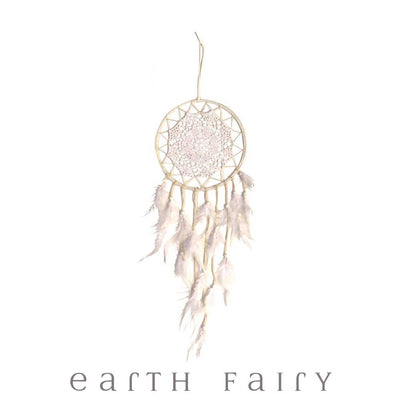 Crochet Dream Catcher - 70cm - White | Fairy Inspired Gifts & Decor - Australia | Earth Fairy