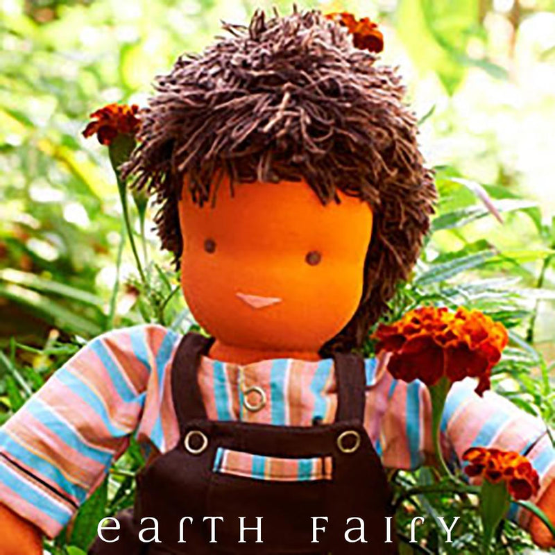 Waldorf Steiner Boy Doll - Dark Brown Hair & Brown Eyes, from The Waldorf Steiner Doll Collection by Earth Fairy