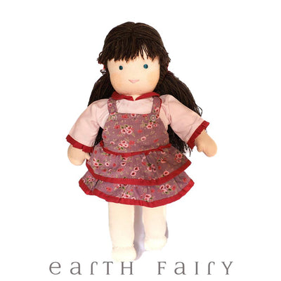 Waldorf Steiner Girl Doll - Dark Brown Hair with Fringe, from The Waldorf Doll Collection by Earth Fairy