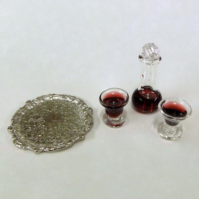 Decanter & Glasses on a Silver Tray | Fairy Garden Accessories | Earth Fairy