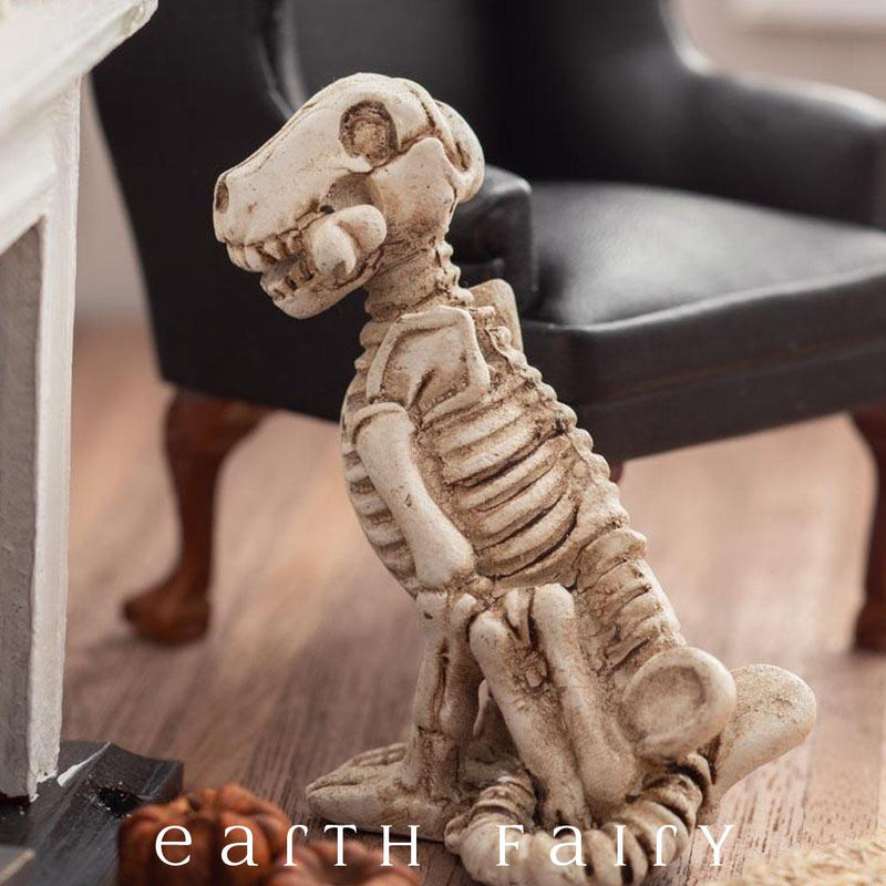 Miniature Dog Skeleton Figurine from The Fairy Garden Miniature Halloween Collection by Earth Fairy