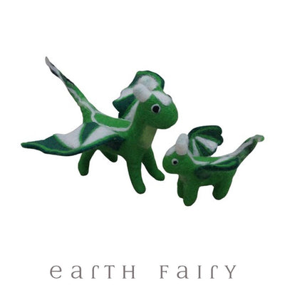 Adult & Baby Dragon Set, Green, from The Hand Felted Wool Toy Collection by Earth Fairy