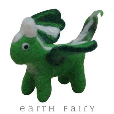 Baby Dragon, Green, from The Hand Felted Wool Toy Collection by Earth Fairy