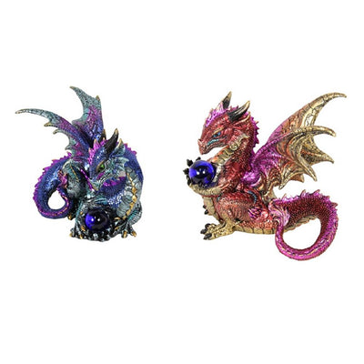 Dragon Holding a Glass Orb - Purple - Displayed as a Set of Two - Fairy Inspired Gifts and Decor - Earth Fairy