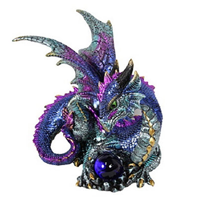 Dragon Holding a Glass Orb - Purple - Fairy Inspired Gifts and Decor - Earth Fairy