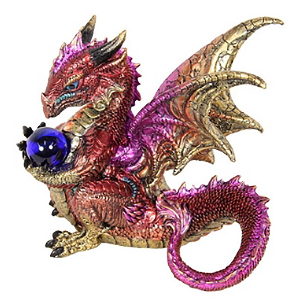 Dragon Holding a Glasss Orb - Red - Fairy Inspired Gifts and Decor - Earth Fairy