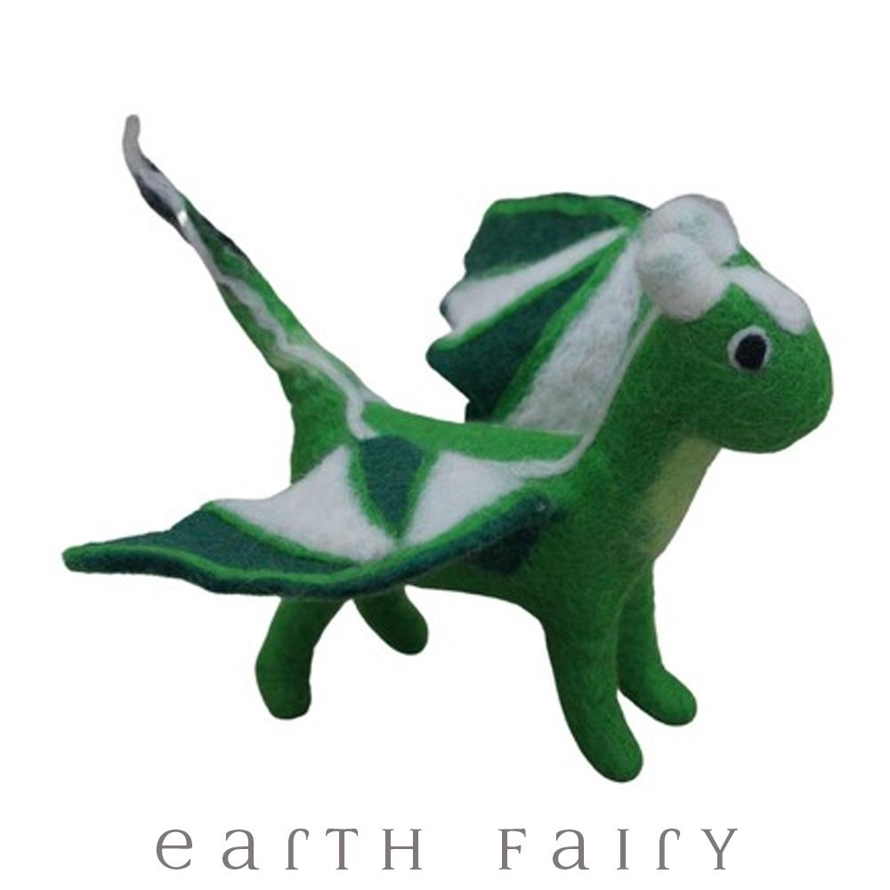 Dragon, Large, Green, from The Hand Felted Wool Toy Collection by Earth Fairy