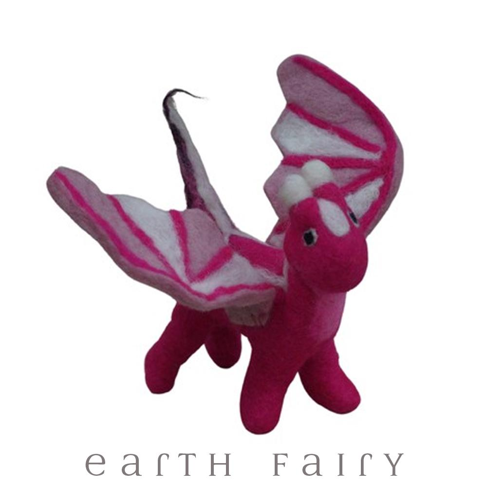 Dragon, Large, Pink, from The Hand Felted Wool Toy Collection by Earth Fairy