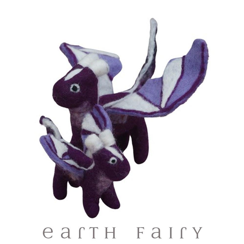Dragon, Large, Purple, from The Hand Felted Wool Toy Collection by Earth Fairy