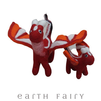 Adult & Baby Dragon Set, Red, from The Hand Felted Wool Toy Collection by Earth Fairy