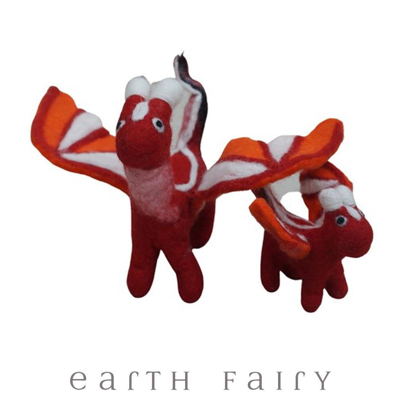 Dragon, Large, Red, from The Hand Felted Wool Toy Collection by Earth Fairy