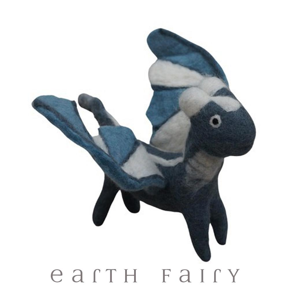 Large Dragon, Silver, from The Hand Felted Wool Toy Collection by Earth Fairy
