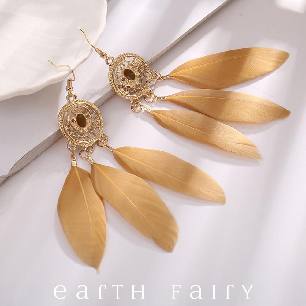 Dream Catcher Earrings, Dusty Gold, from The Dream Catcher Jewellery Collection by Earth Fairy