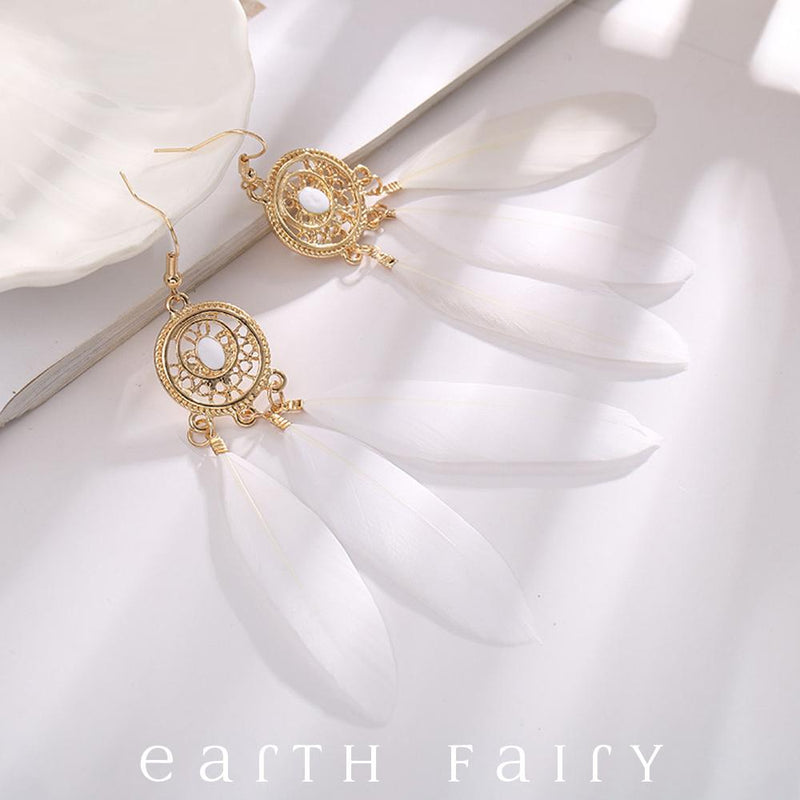 Dream Catcher Earrings, Ivory, from The Dream Catcher Jewellery Collection by Earth Fairy