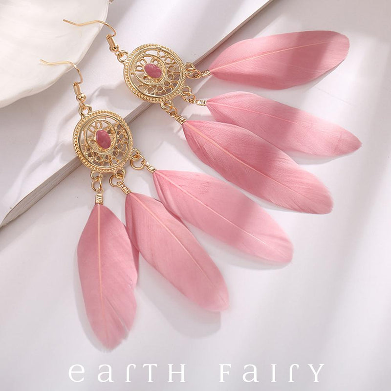 Dream Catcher Earrings, Pink Blossom, from The Dream Catcher Jewellery Collection by Earth Fairy