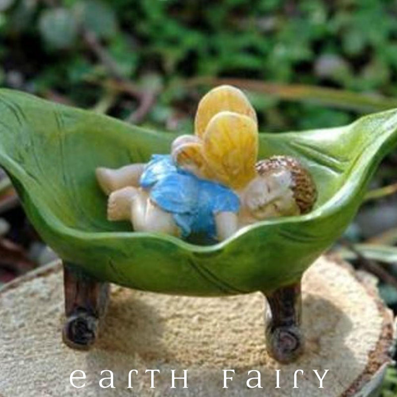 Fairy Baby in a Cradle | Fairy Garden Figurines - Australia | Earth Fairy