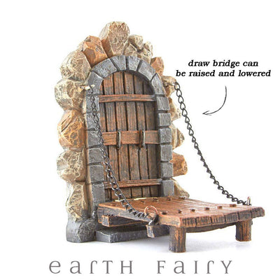 Fairy Door with Draw Bridge, Product Highlights, from The Miniature Fairy Door Collection by Earth Fairy
