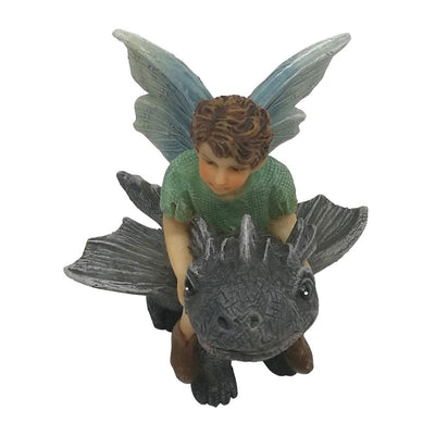 Fairy Draco with Dragon, Overhead View, from The Willow Fairy Garden Collection by Earth Fairy