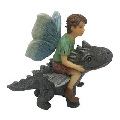 Fairy Draco with Dragon, Side View, from The Willow Fairy Garden Collection by Earth Fairy