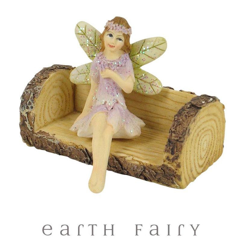 Fairy Gardens Fairy Garden Log Seat Earth Fairy