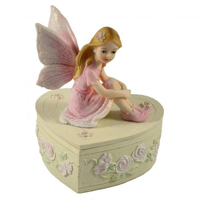 Room Accents Fairy Heart Trinket Box Pink Earth Fairy
