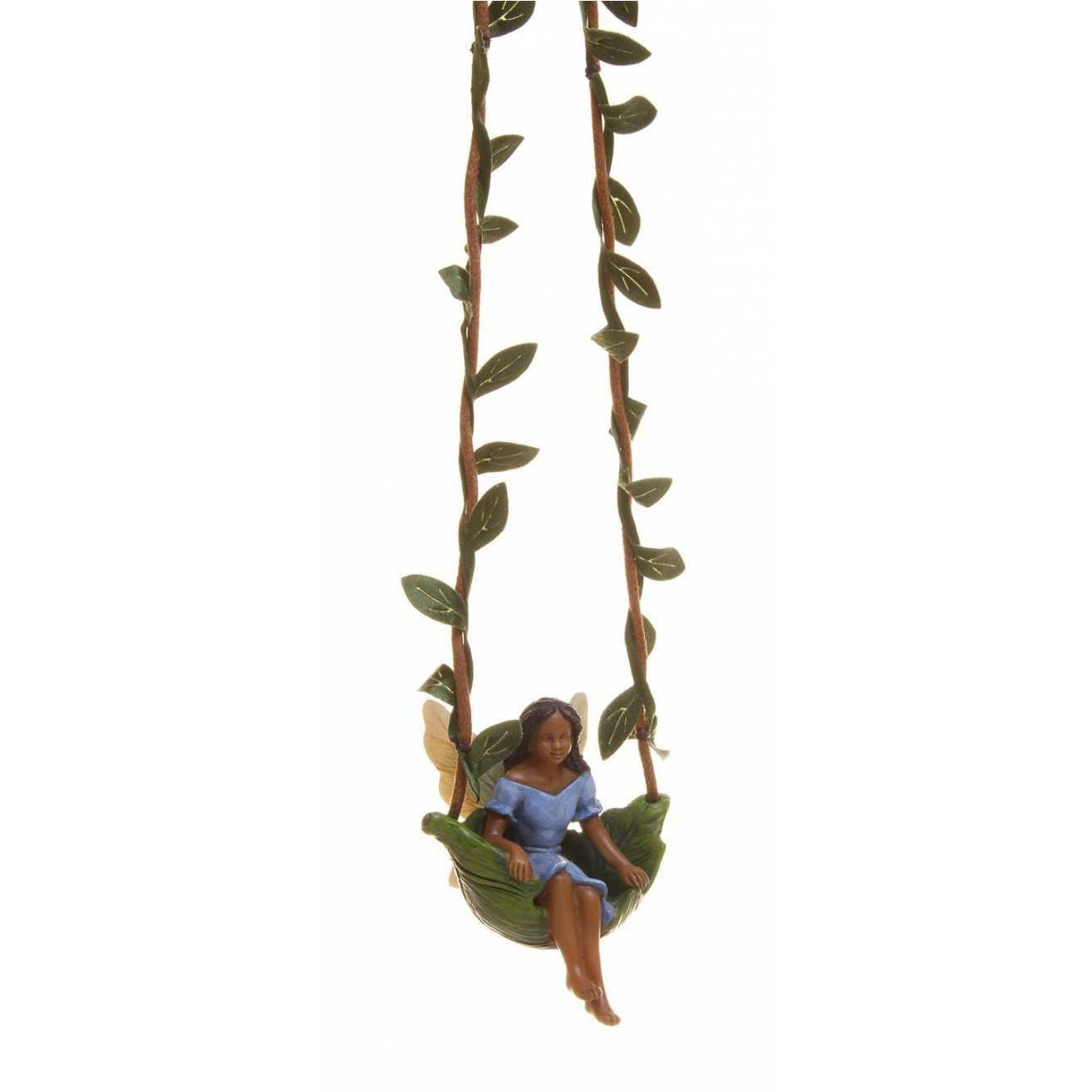 Fairies & Friends Fairy on a Leaf Swing Earth Fairy