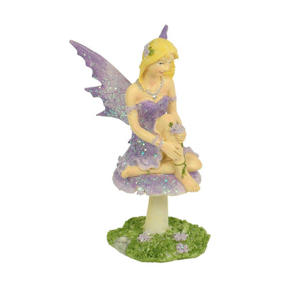Fairy on Mushroom - 10cm - Lilac | Fairy Garden Figurines - Australia | Earth Fairy