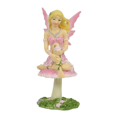 Fairy on Mushroom - 10cm - Pink | Fairy Garden Figurines - Australia | Earth Fairy