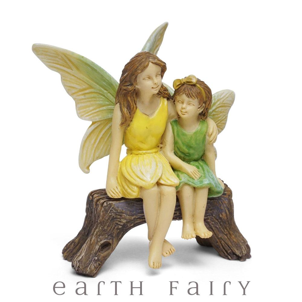 Fairy Sisters Sitting on a Bench from The Woodland Knoll Fairy Garden Collection by Earth Fairy
