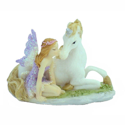 Fairy Sitting with Unicorn - Mini | Fairy Garden Figurines - Australia | Earth Fairy