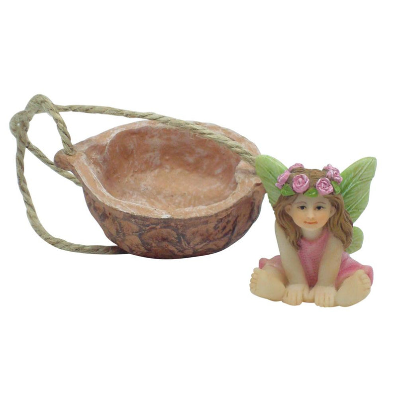 Fairy Sweet Pea with Walnut Shell Swing | Fairy Garden Figurines - Australia | Earth Fairy