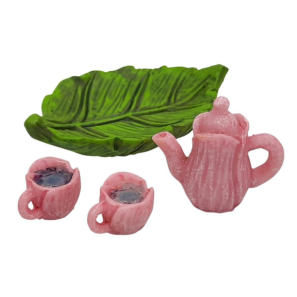 Fairy Tea Set, Pink, from The Miniature Fairy Garden Accessory Collection from Earth Fairy