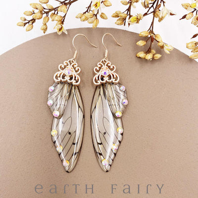 Fairy Wing Earrings - Natural, Gold from The Fairy Inspired Jewellery Collection by Earth Fairy