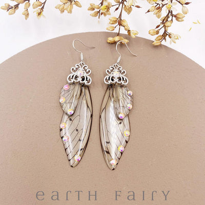 Fairy Wing Earrings - Natural, Silver from The Fairy Inspired Jewellery Collection by Earth Fairy